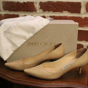 💯Jimmy Choo Aza nude patent kitten heels